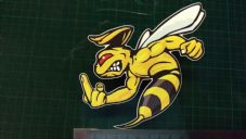 Angry Wasp Sticker Moto GP laptop helmet bike car scooter Finger, Rude, up yours